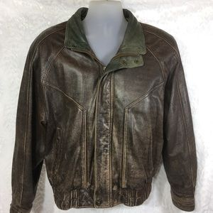 Distressed Leather Bomber Jacket by Wilson Size M